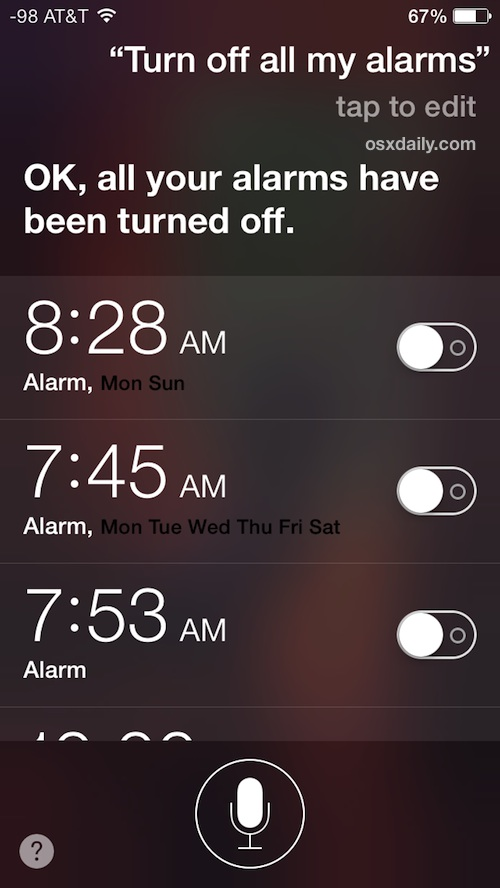 Turn off all alarms on the iPhone
