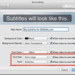 Change the font size of subtitles in Mac OS X video