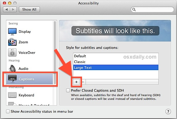 Create custom sized video subtitles in Mac OS X