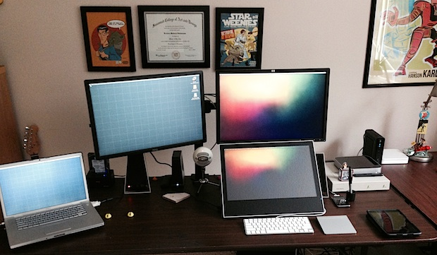 Digital Illustrator and artists Mac setup and desk