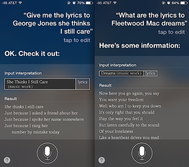 Get song lyrics from Siri