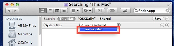 Include System Files in searches of Mac OS X