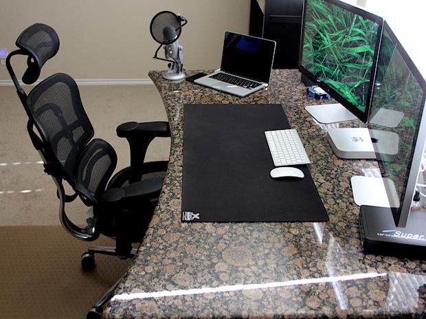 Mac Mini, Thunderbolt Displays, MacBook Retina, and a granite desk