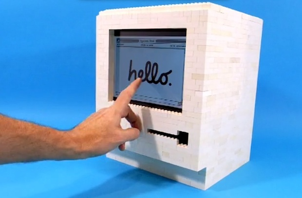 Macintosh iPad stand built from LEGO