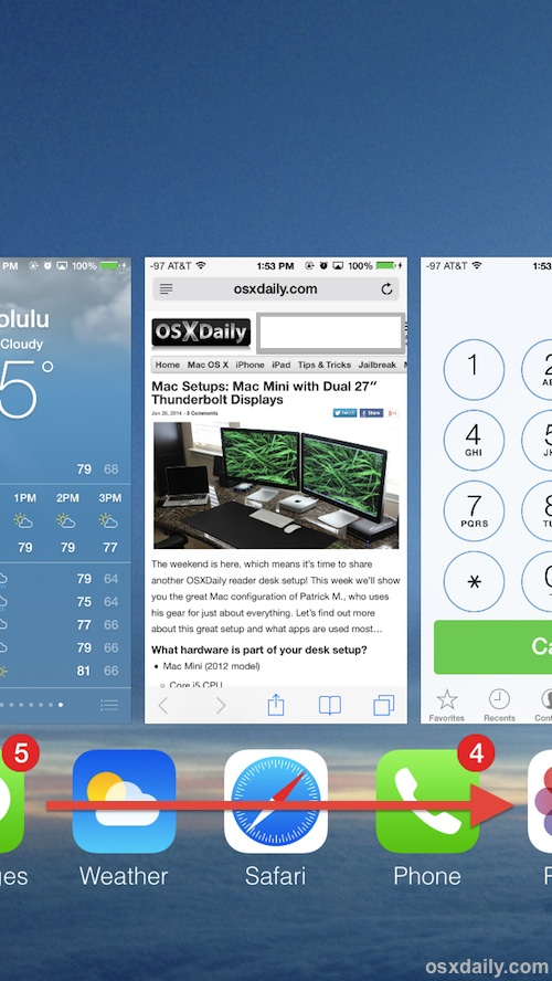 multitask faster in iOS by swiping the icons