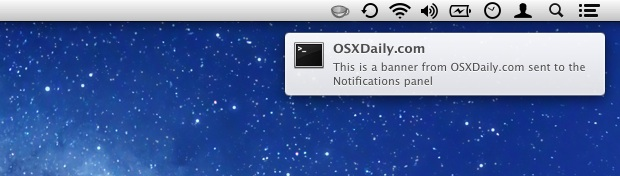 a Notifications banner in OS X