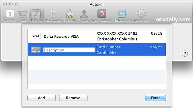 Safari adding credit card information to Autofill with iCloud Keychain