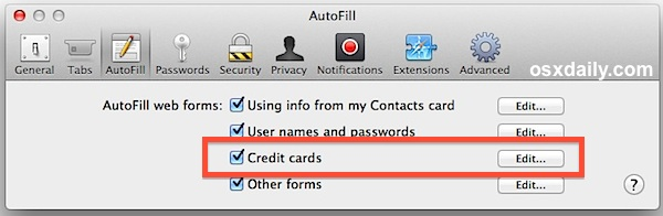 Safari Credit Card Autofill enabled
