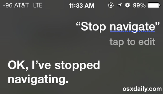 Stop voice navigation on the iPhone