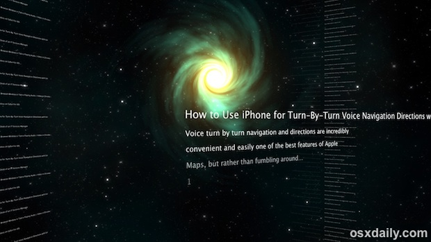 Time Machine RSS Screen Saver with stories spinning in a vortex