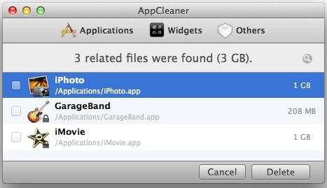 Uninstall Garageband, iMovie, and iPhoto with AppCleaner