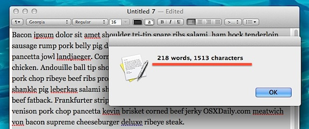 Word and character counting service for all apps in Mac OS X