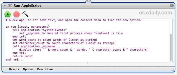 The word counting script in Automator