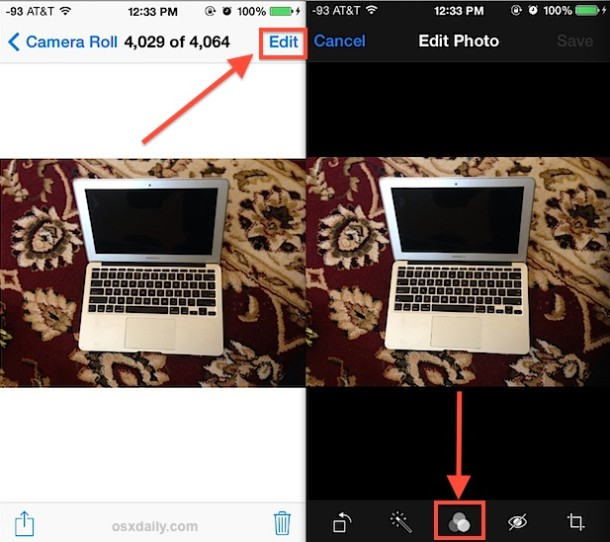 Apply filters to pictures in Photos app for iOS
