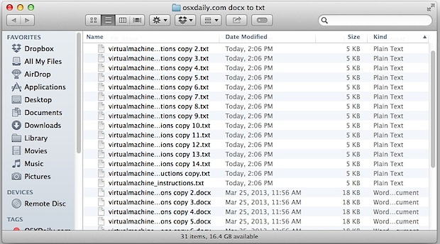 Batch converted docx to txt files in a Mac folder