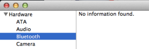 "Bluetooth ""No information found"" in hardware System Profiler"