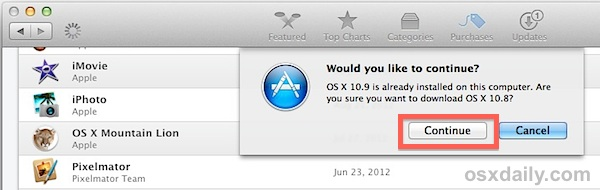 Confirm download of older version of OS X