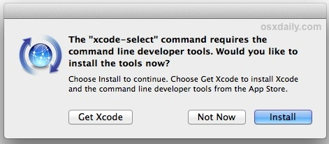 Confirm installation of command line tools on Mac OS X