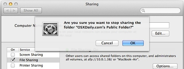 Confirm the disabling of Public Sharing folders for a user account