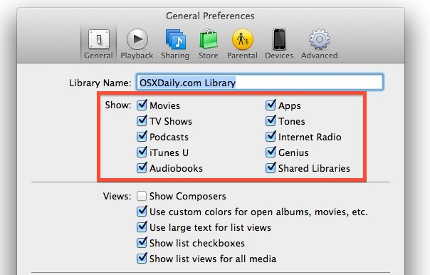 Control what's in the iTunes media sidebar