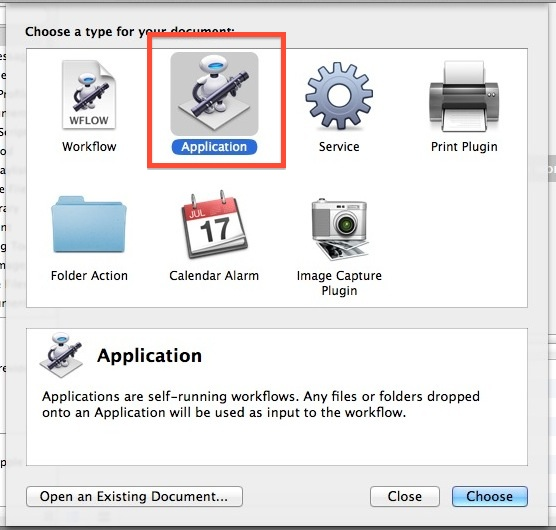 Create a new application in Automator
