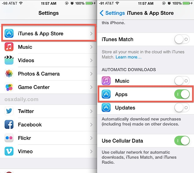 Enable Automatic App Downloads in iOS