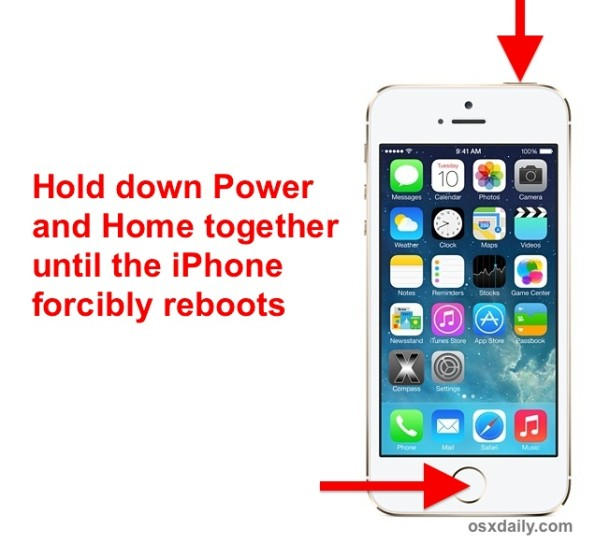 Force reboot an iPhone