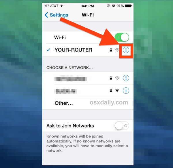 Get more info about the wi-fi network