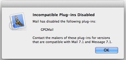 Incompatible Mail plugin message