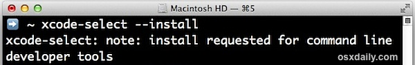 Install command line tools through terminal in Mac OS X
