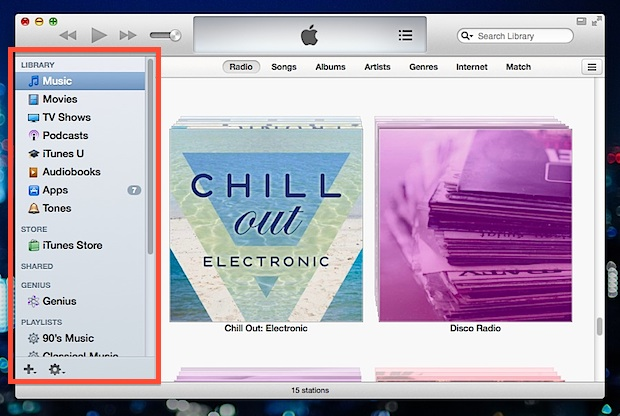 iTunes sidebar made visible
