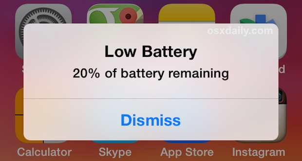 Low battery warning on an iPhone