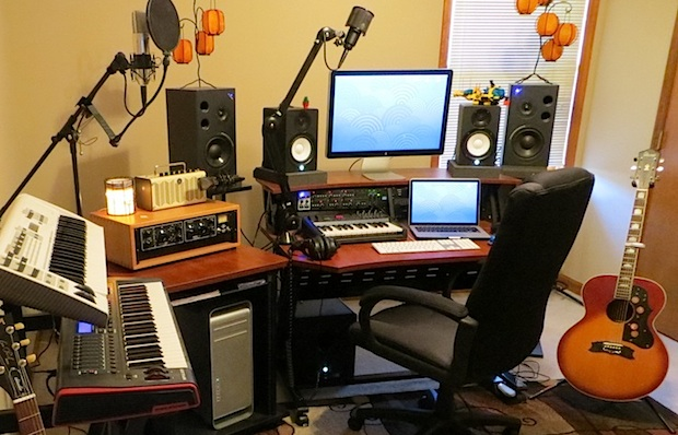 Music and Audio Studio setup with Mac Pro and Retina MacBook Pro