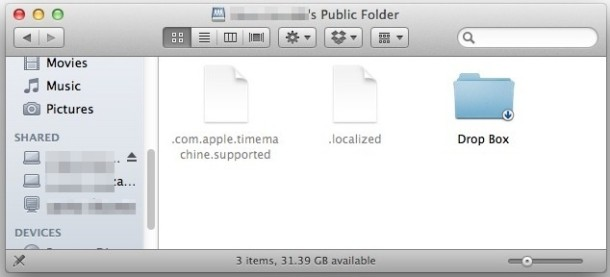 A Mac users public shared folder