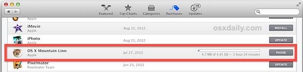 older version of Mountain Lion downloading in OS X Mavericks