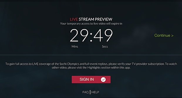NBC Olympics live stream limit without logging in