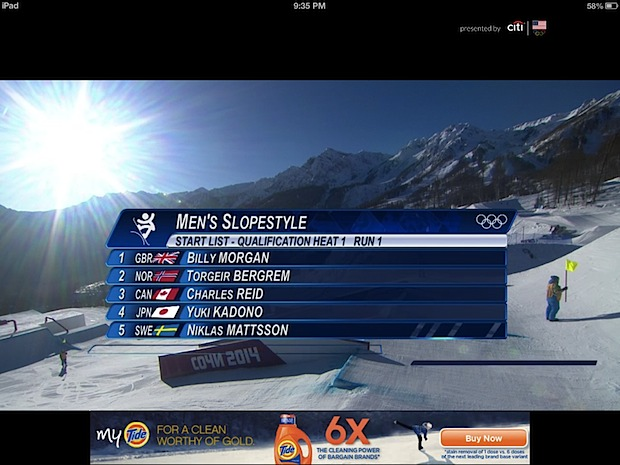 Sochi Olympic live stream in the NBC app