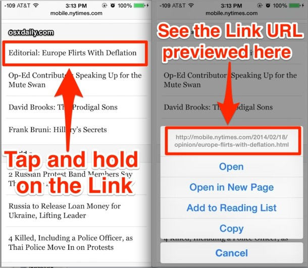 Preview a Link URL in Safari for iOS