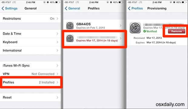 Remove provisioning profile in iOS Settings