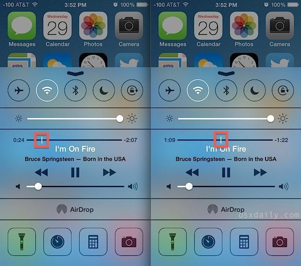 Scrubbing music and podcast tracks from the iOS Control Center