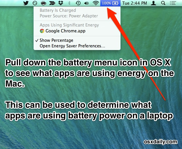 See what apps are using battery / energy in Mac OS X