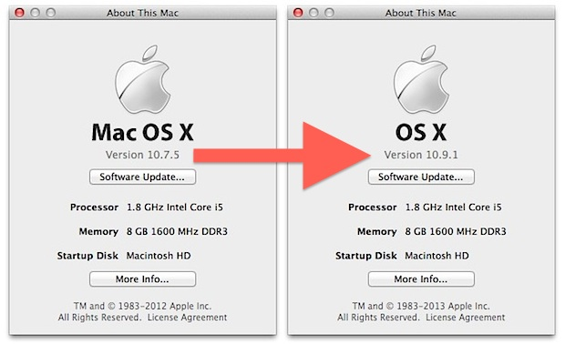 Upgrade OS X Lion to OS X Mavericks