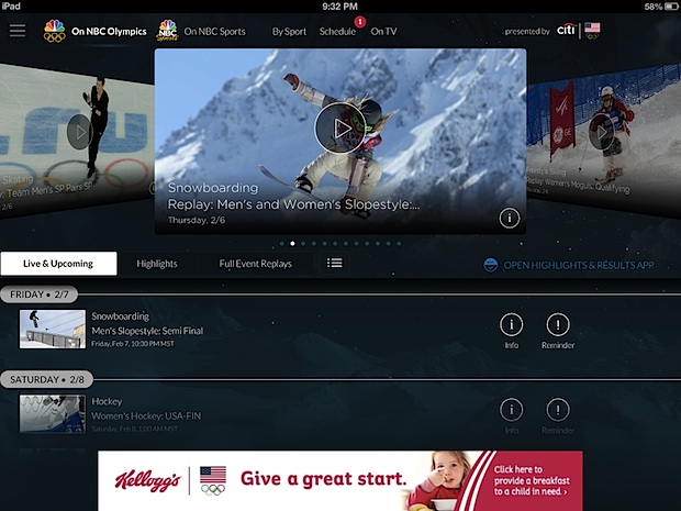 Watch Olympic Live Streams on the iPad or iPhone Free