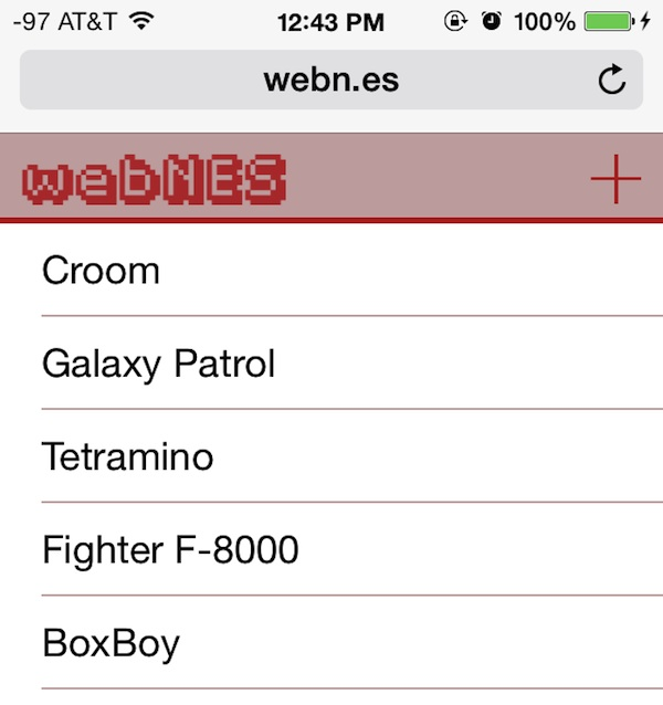 WebNES Nintendo emulator for iOS runs in a web browser