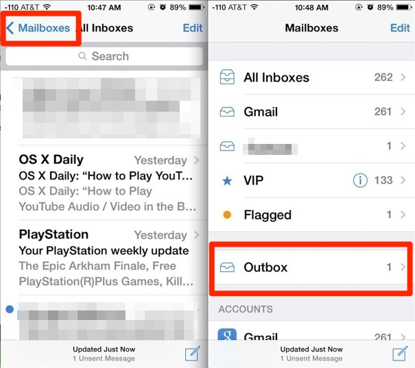 Access unsent messages in iOS Mail app