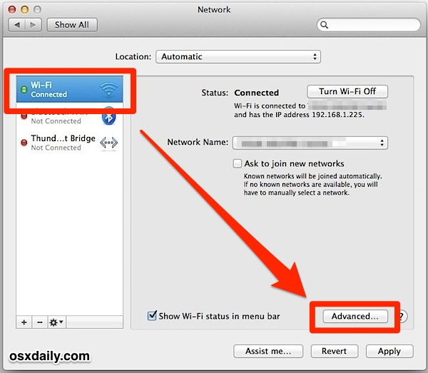 Go to Advanced Wi-Fi Network Preferences in Mac OS X