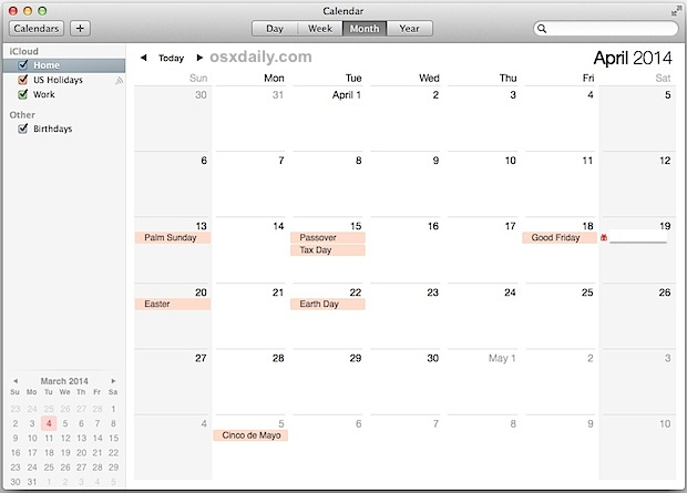 Calendar holidays in Mac OS X