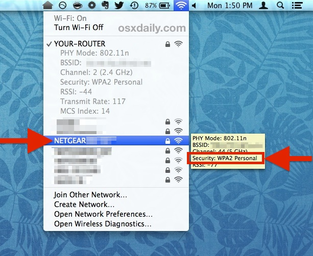 Check other Wi-Fi networks security protocol from Mac OS X