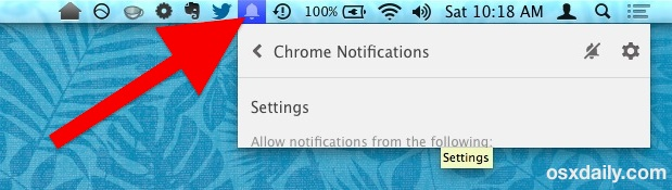Chrome bell menu bar icon in Mac OS X
