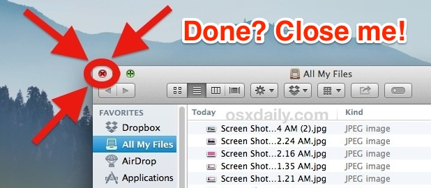 Close All My Files when finished in OS X